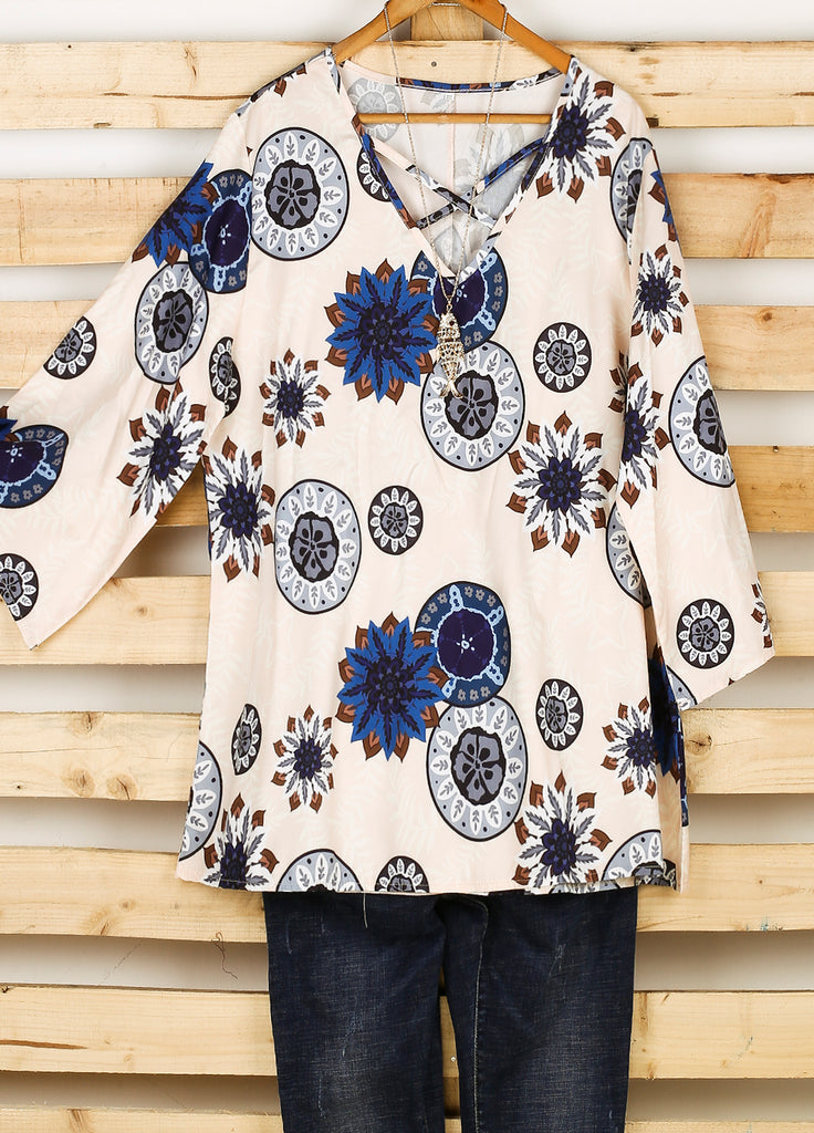 fa6116554290de Plus Size Women Fashion Blouse Casual Loose Floral Printed Tops ...