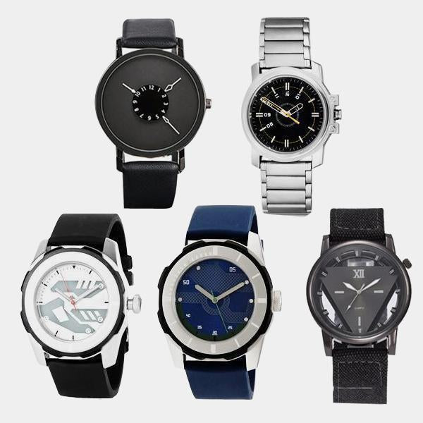 Set of 5 Branded Wrist Watches Combo - 1 Year Warranty