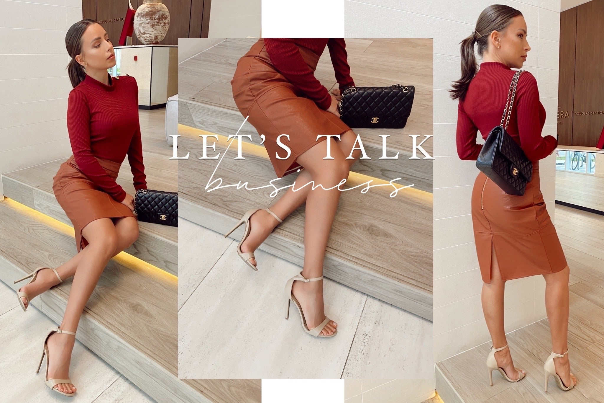 Business Attire Outfits - Ali in Nude. Can wear our heels to work
