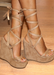 Women's suede, tie up nude wedges designed by Alexandria Brandao shoes. that can be worn year around and everyday wedge.