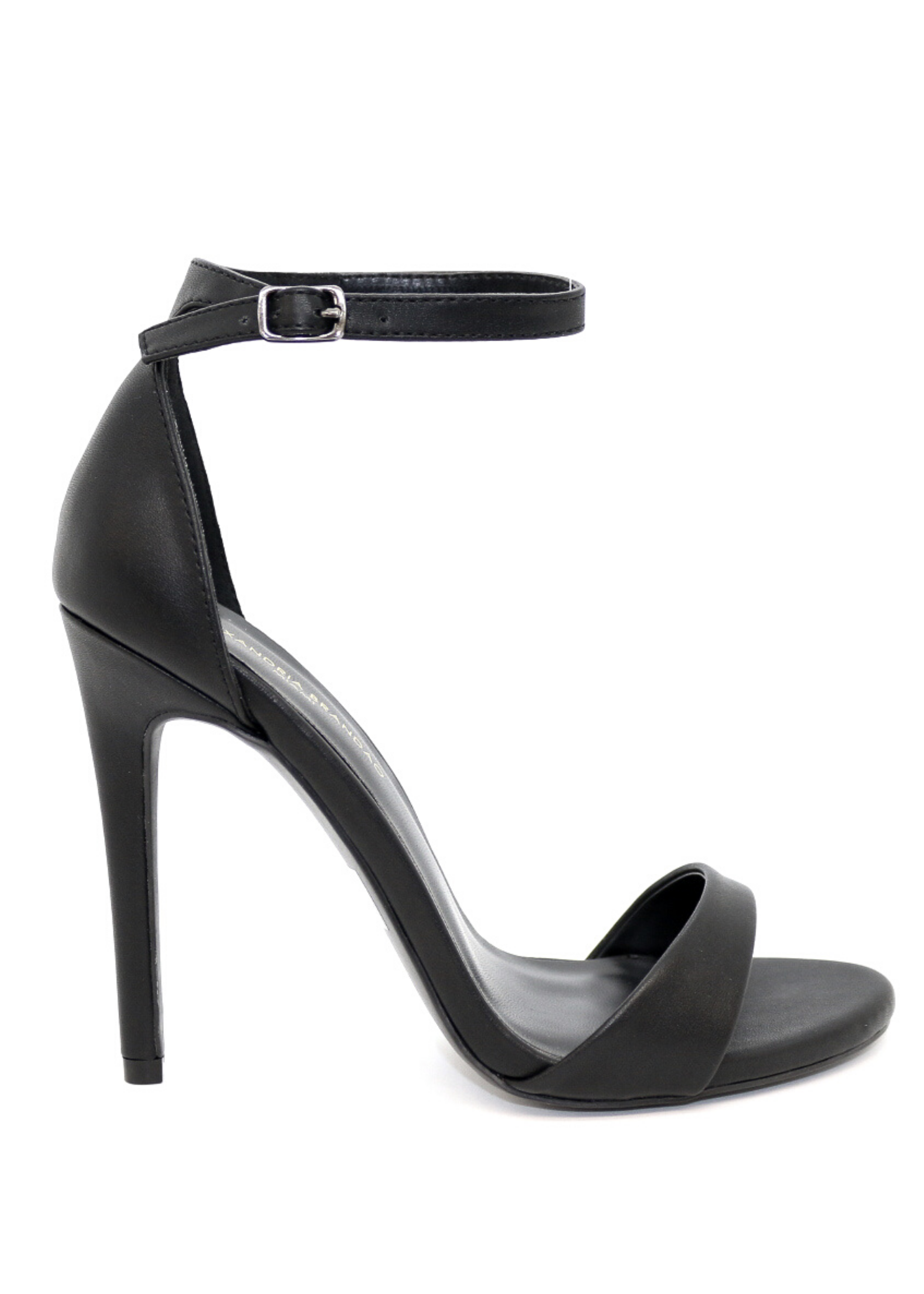 Women's black strappy formal or casual work heel.