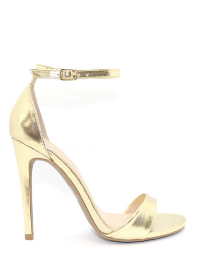 ALI in gold that is picture above for a better view. Ali Heels in gold that has a buckle on the ankle and cover heel in the back as well as thick to thin and thick again for secure and comfort