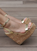 Amora Women's gold cork wedge heel. Women's gold summer wedge. women's cork wedge.