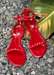 Aria Scarlet jelly sandals. Front view