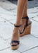 Black wedge with cork heel, Amora wedge by Alexandria Brandao shoes.