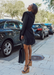 @Carlanunez_ wearing her work wedges and black work shoes, Amora black wedge all around town.