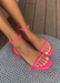 Women's neon pink waterproof jelly sandals for everyday outfits and pool days. Front view