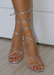 Women's Ana silver lace tie up heel sandals for night out.