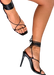 "Our women's black sleek tie up stiletto, the ""Ana"" heel, to night out with friends or to a wedding paired with a beautiful dress or grown! The Ana heel has  The Ana heel features thong-like toe straps and skinny ankle laces which tie up real high to ensure a secure and comfy fit while exuding high end elegance."