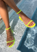 Water proof Aria Neon yellow jelly sandals.