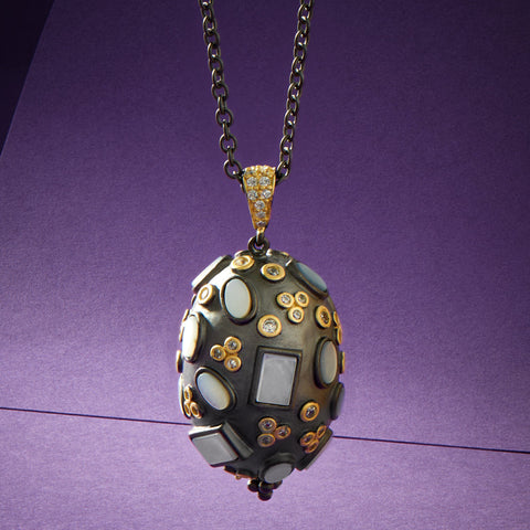 Multi Stone Pendant Necklace imperial collection solo with purple background