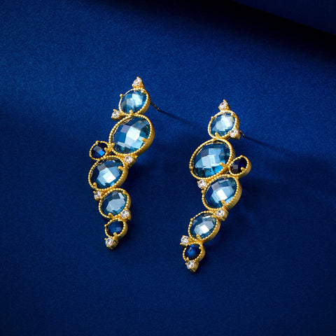 Cluster Drop Earrings - Imperial Blue Gold