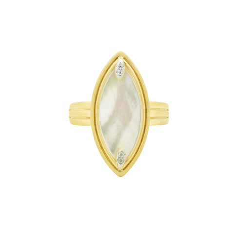 Fleur Bloom EMPIRE Mother of Pearl Marquise Ring