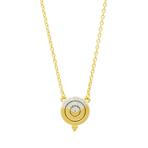 Fleur Bloom EMPIRE Circular Ring Small Pendant Necklace