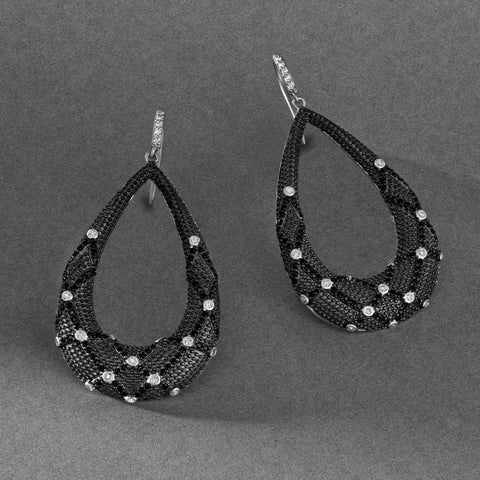 Industrial Finish Open Teardrop Fishhook Earrings