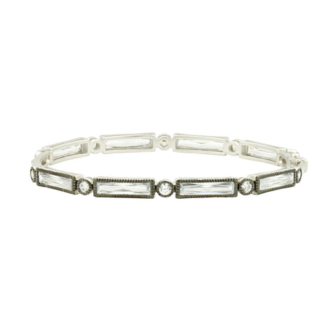 Thin Baguette Bar Eternity Hinge Bangle