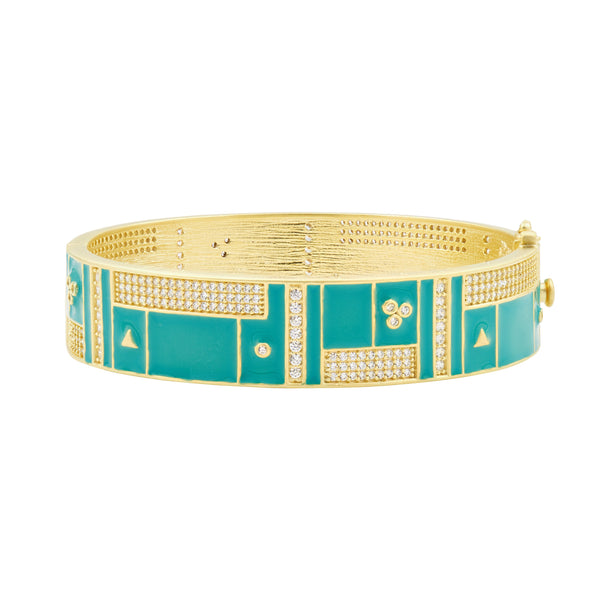 Harmony Turquoise Enamel Wide Bangle