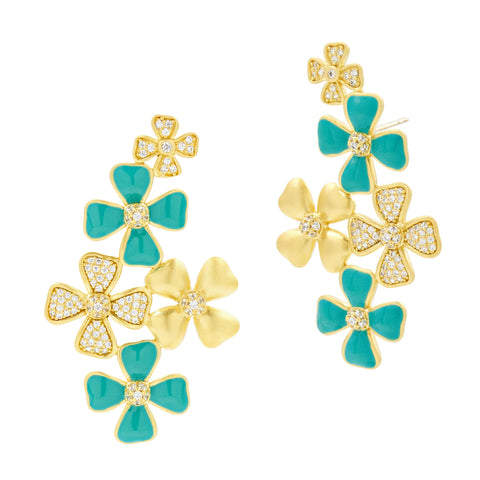 Harmony Turquoise Flower Cluster Earring
