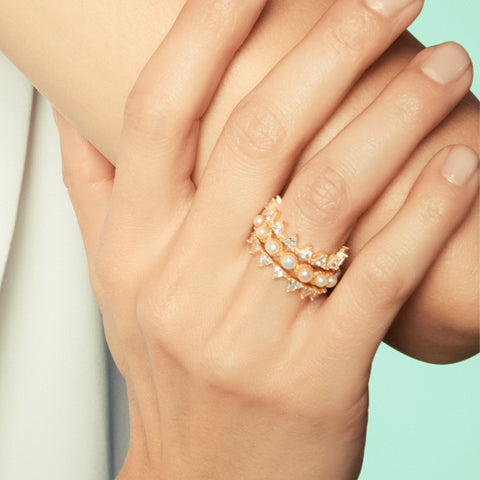 3 Stack Ring with Pearls