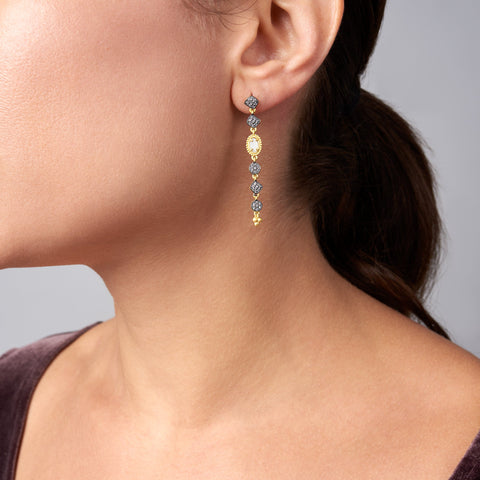 Imperial Mother of Pearl and Pavé Linear Drop Earrings