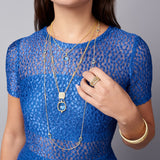 Imperial Blue Stone Single Pendant Necklace on model with bracelet and single strand necklace