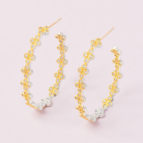 Fleur Bloom Clover Hoop Earrings