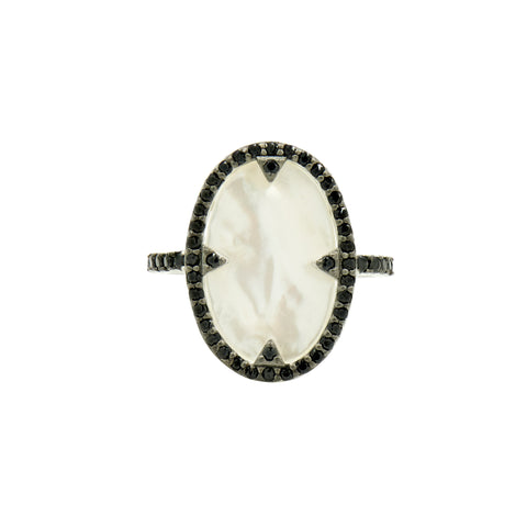 Industrial Finish Mother of Pearl and Pavé  Cocktail Ring
