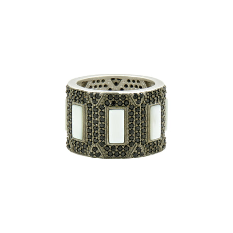 Industrial Finish Pavé Cigar Band Ring