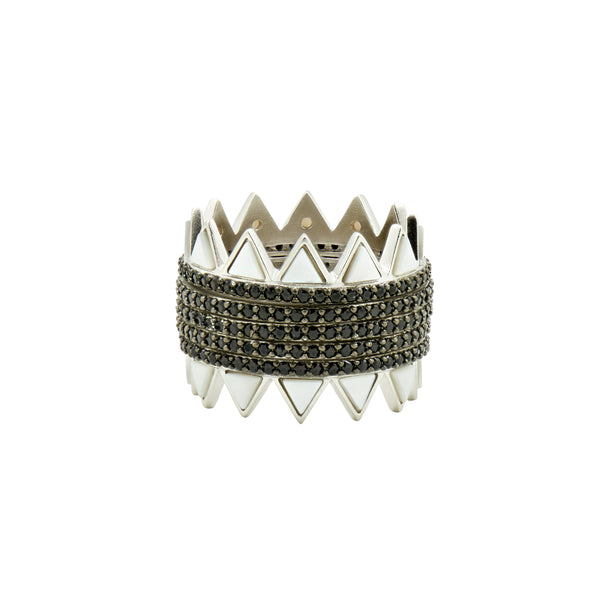 Industrial Finish Pavé Spike 5-Stack Ring