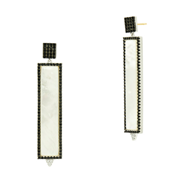 Industrial Finish Mother of Pearl Rectangle Earring
