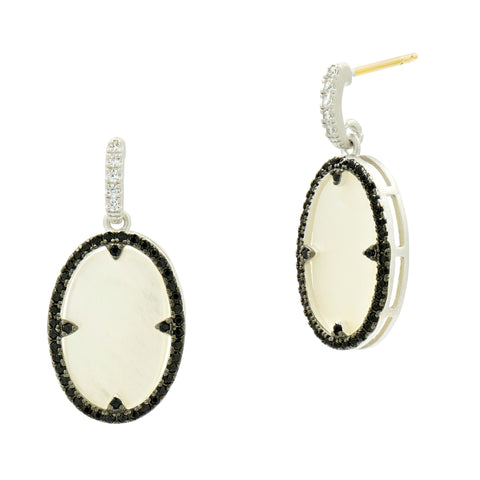 Industrial Finish Mother of Pearl Oval Short Drop Earring