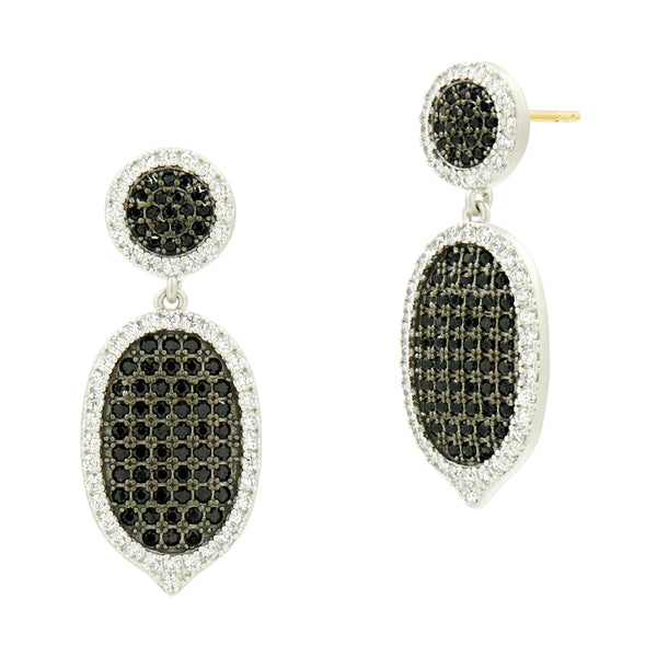 Industrial Finish Pavé Short Drop Earring