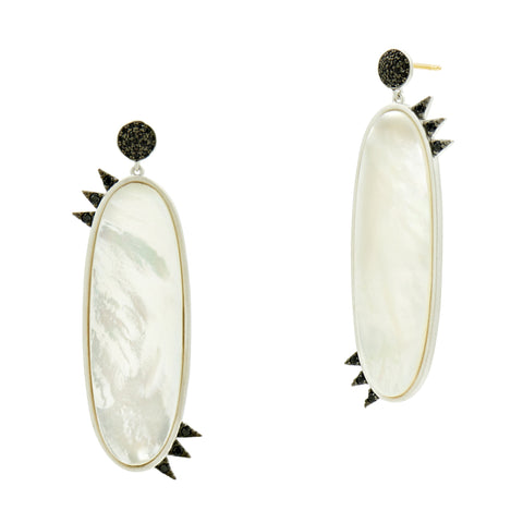 Industrial Finish Oval Drop Earring