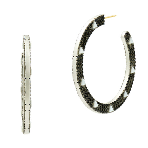 Industrial Finish Pavé Stone Hoop Earring