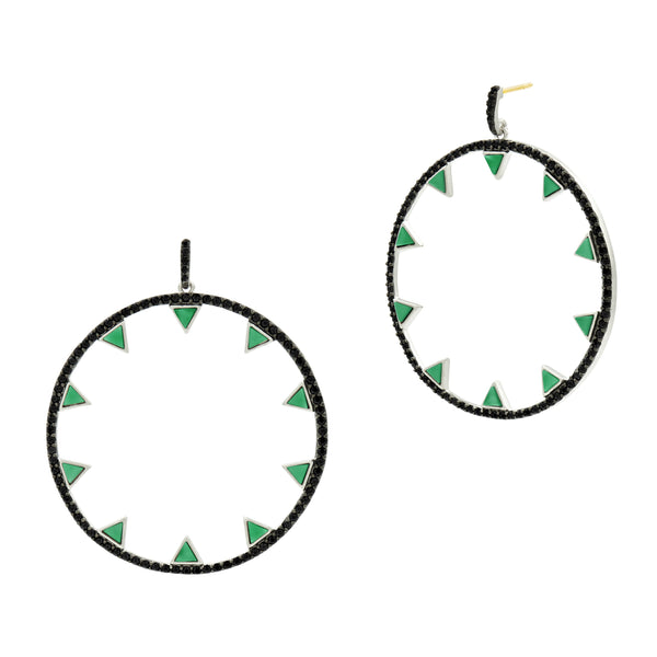 Industrial Finish Spiked Open Hoop Earring