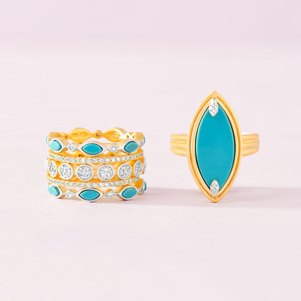 Fleur Bloom EMPIRE Turquoise Statement Rings