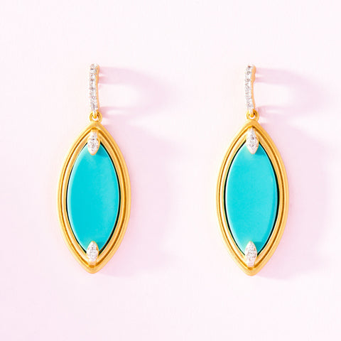 Fleur Bloom EMPIRE Turquoise Marquise Drop Earrings