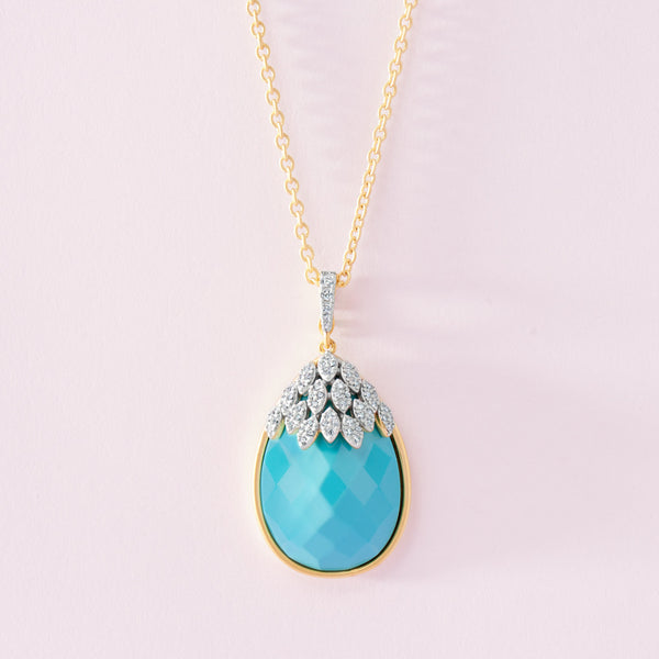Fleur Bloom EMPIRE Turquoise Teardrop Pendant Necklace