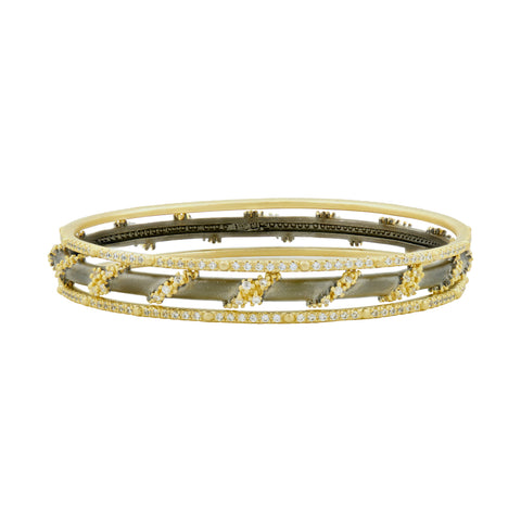 Midnight Pavé Roped 3-Stack Bangles