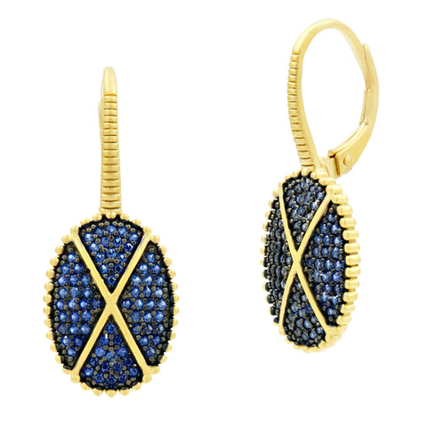 Midnight Oval Pavé Lever Back Earring