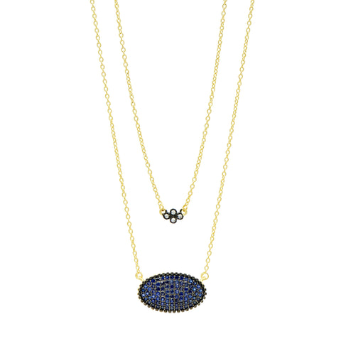 Midnight Oval Pavé Double Pendant Necklace