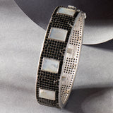 Industrial Finish Mother of Pearl and Pavé Hinge Bangle