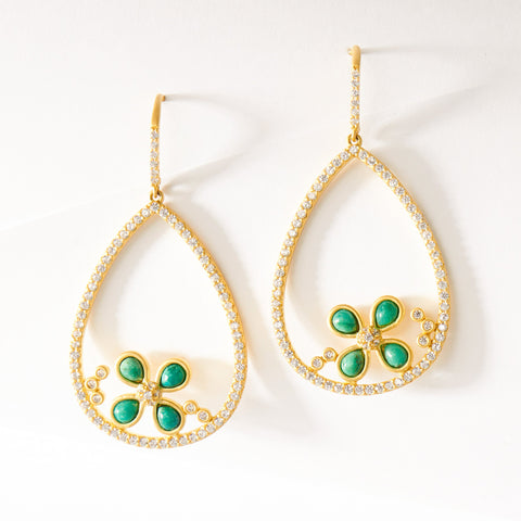 Hint of Chrysocolla Floral Earring