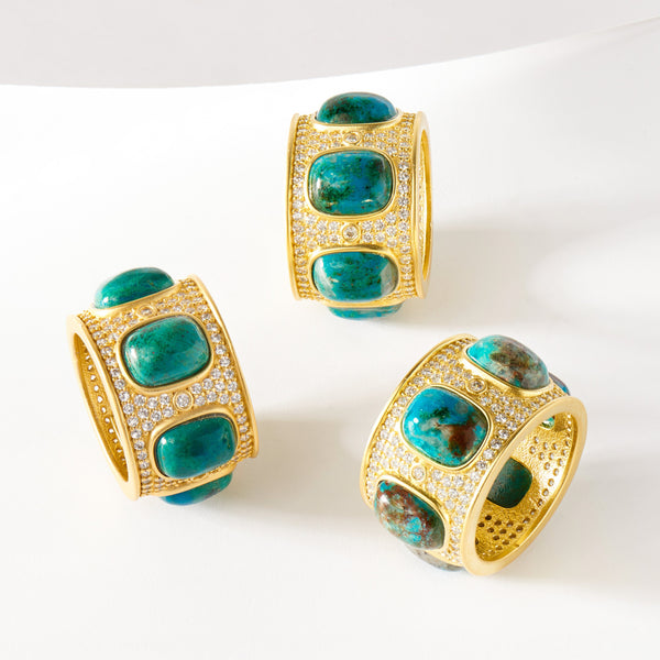 Statement Chrysocolla Cigar Band Ring