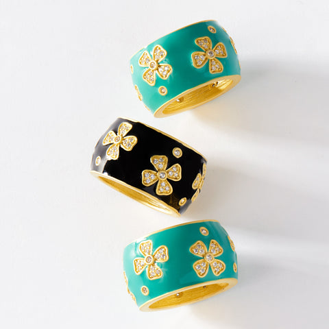 Enamel Cigar Band Ring