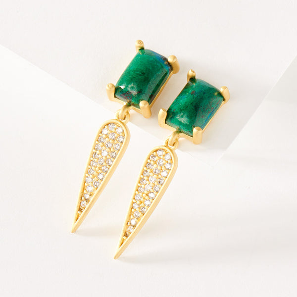 Chrysocolla at Night Earring