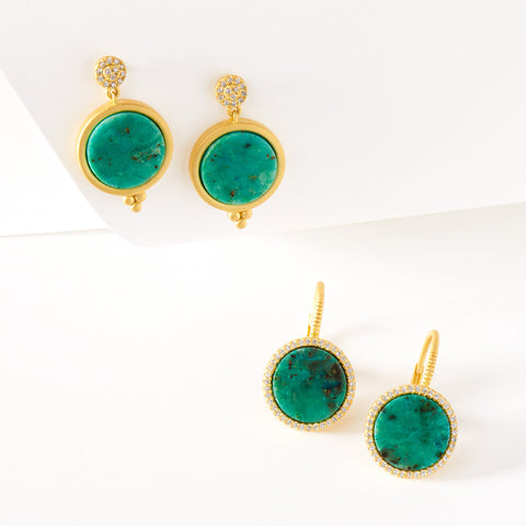 Chrysocolla Short Drop Earrings