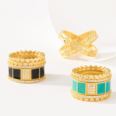 Enamel Statement Stack Rings
