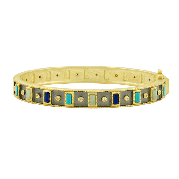Multi-Stone Hinge Bangle
