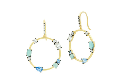 Touch of Turquoise Open Hoop Earring